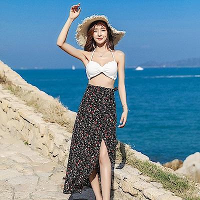 復古印花高腰海邊度假沙灘裙-F(共三色)-維拉森林