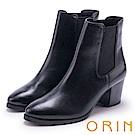 ORIN 經典復古 素面俐落彈力鬆緊粗高跟短靴-黑色