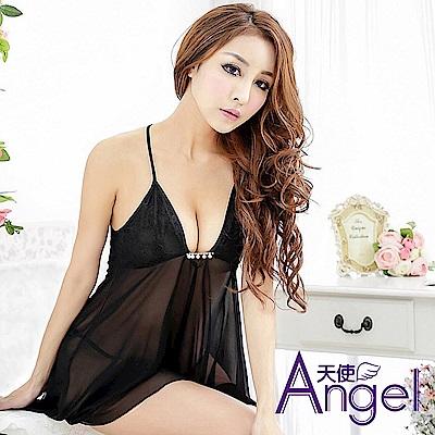 Angel天使 露乳性感睡衣三點式情趣內衣誘惑套裝 BP091 黑
