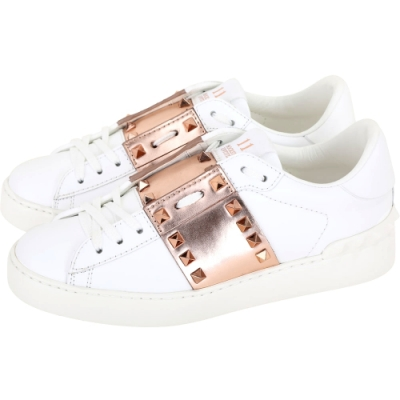 VALENTINO Garavani 玫瑰金牛皮拼接鉚釘小白鞋(女款)
