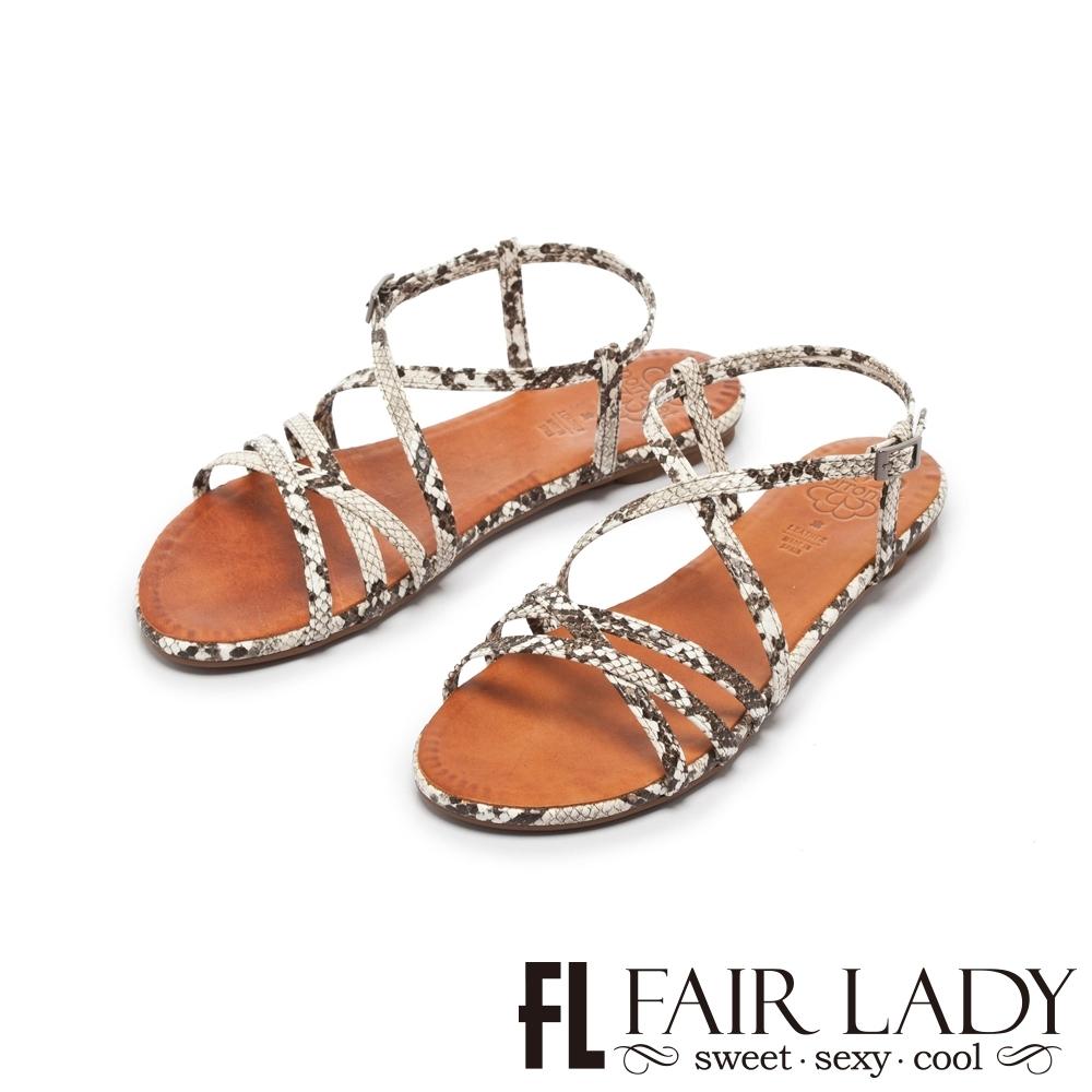 【FAIR LADY】PORRONET蛇紋皮革交叉繞帶平底涼鞋 蛇紋白