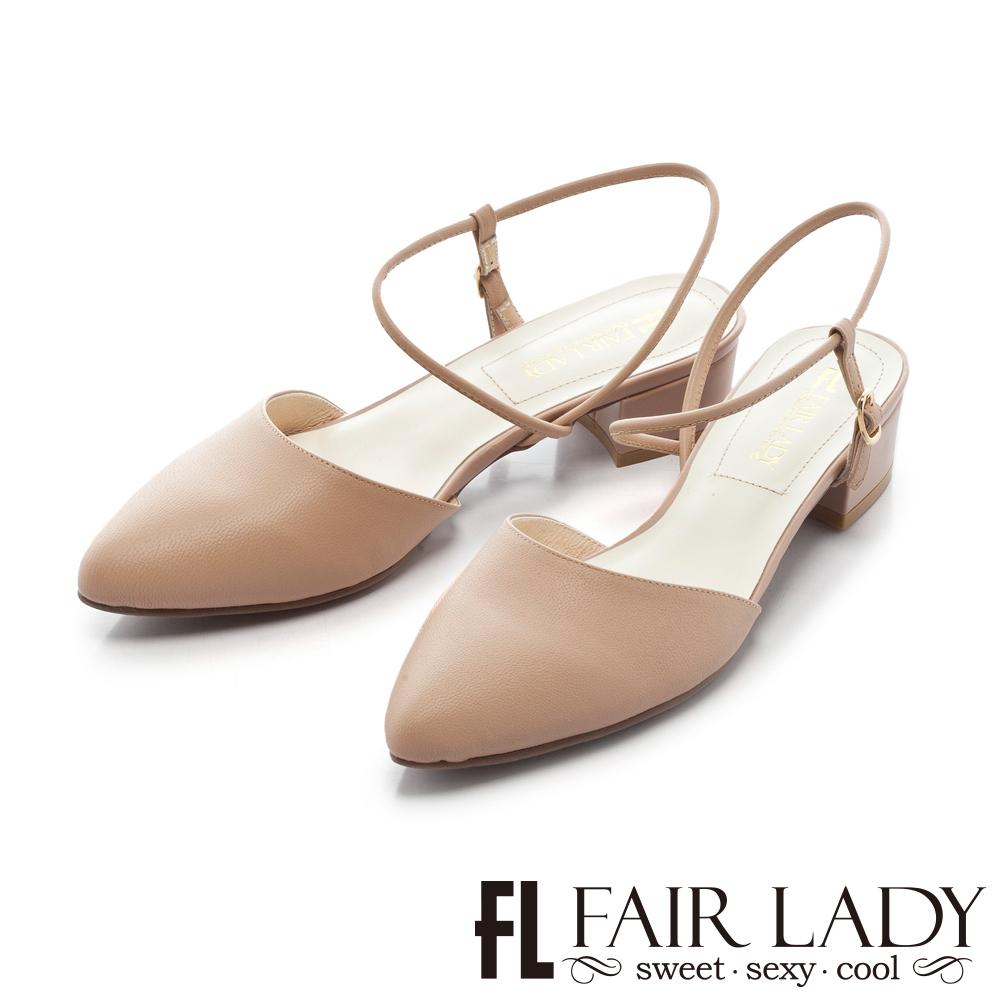 Fair Lady 有一種喜歡是早秋-尖頭設計優雅繫帶粗跟涼鞋 粉