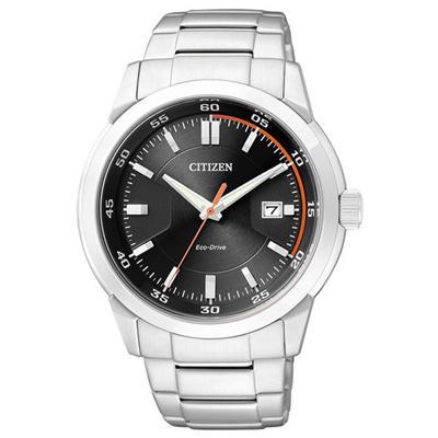 CITIZEN 強力主宰光動能日期腕錶-橘黑-41mm