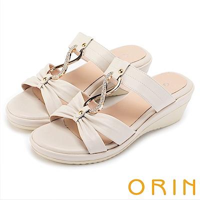 ORIN 迷人耀眼 真皮8字鑽練造型楔型拖鞋-白色