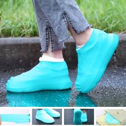 EZlife多彩防水防滑耐磨雨鞋套(時尚藍)