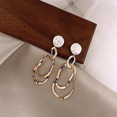 梨花HaNA  韓國925銀針天然珍珠几何金屬圈圈耳環