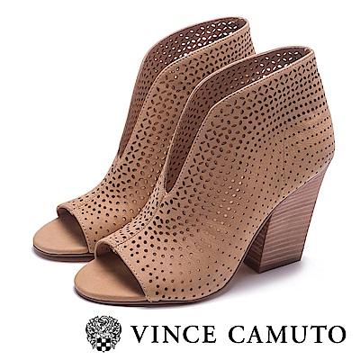 VINCE CAMUTO-V字簍空露趾美型高跟踝靴-棕色