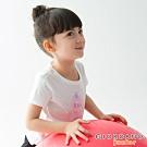 GIORDANO 童裝前短後長短袖印花T恤-41 皎雪