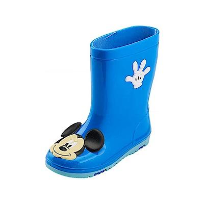 迪士尼 米奇 經典大臉造型 中筒雨鞋-藍
