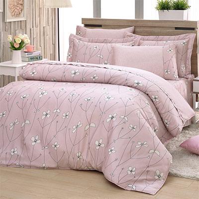 LASOL睡眠屋-40支/100%奧地利天絲 特大兩用被床罩六件組 簡愛花開豆沙粉