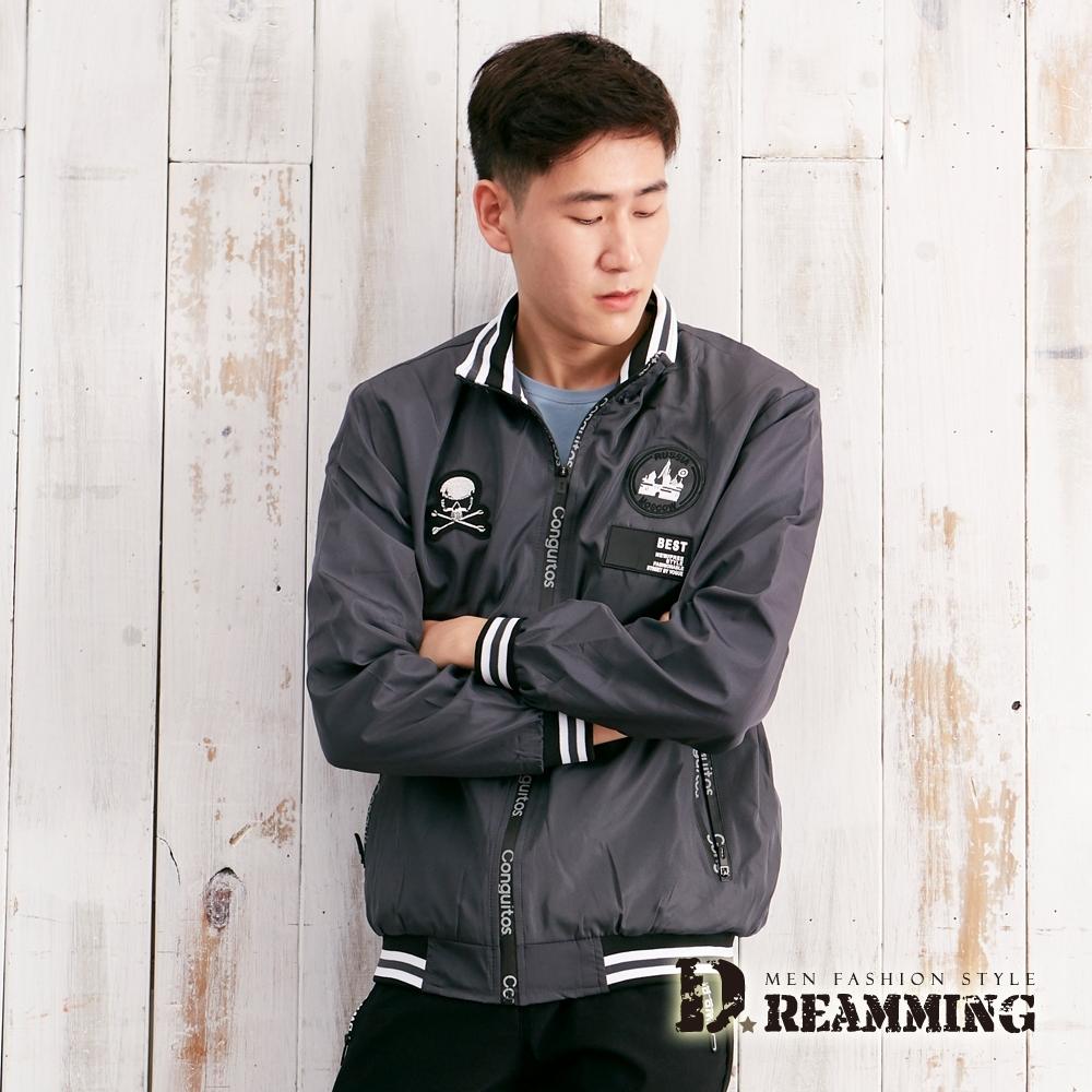 Dreamming 街頭龐克徽章防風飛行夾克外套-深灰