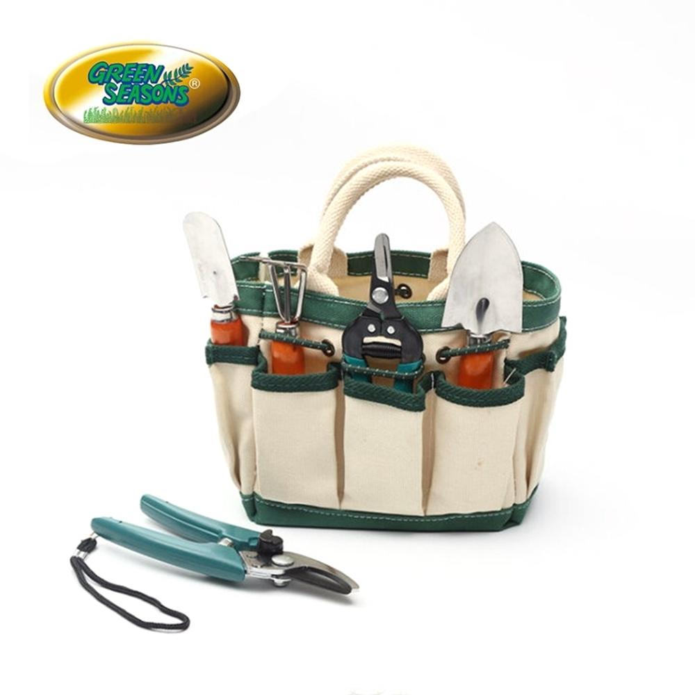 Green Seasons 小農園藝袋7件組(花剪/枝剪/大鏟/小鏟/三爪鏟)