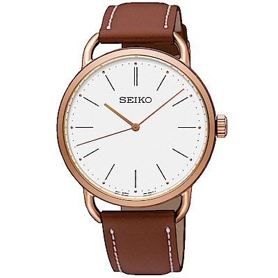 SEIKO 精工 城市熱愛 簡約三針設計女錶(SUR238P1)-咖啡/35mm