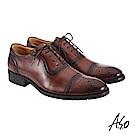 A.S.O職場通勤 萬步健康鞋 內耳式綁帶款紳士鞋-咖啡