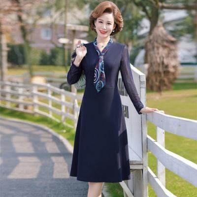 氣質典雅印花飄帶領收腰修身洋裝XL-4XL-理子時尚