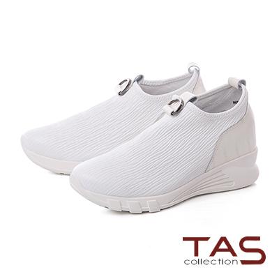 TAS金屬馬蹄扣飾彈力牛皮內增高休閒鞋–亮眼白