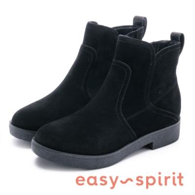Easy Spirit evXENON 知性帥氣縫邊線中筒靴-絨黑