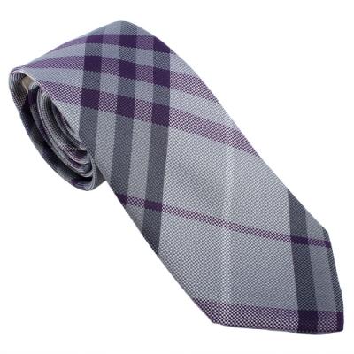 BURBERRY 經典斜格紋絲綢領帶-藍色