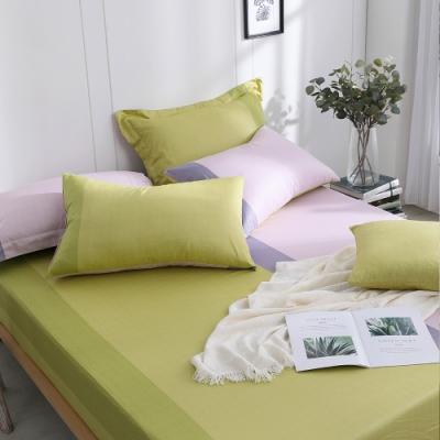 OLIVIA  羅伯特 綠X粉 加大雙人床包美式枕套三件組 200織精梳純棉 台灣製