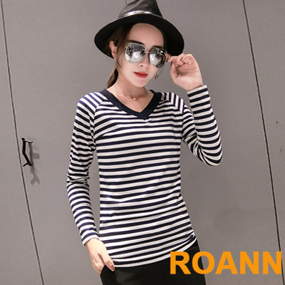 百搭款V領撞色條紋長袖T恤 (共三色)-ROANN