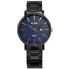 ALBA 簡約風格 斜線條面板 藍寶石水晶玻璃 不鏽鋼手錶-藍x鍍黑/34mm