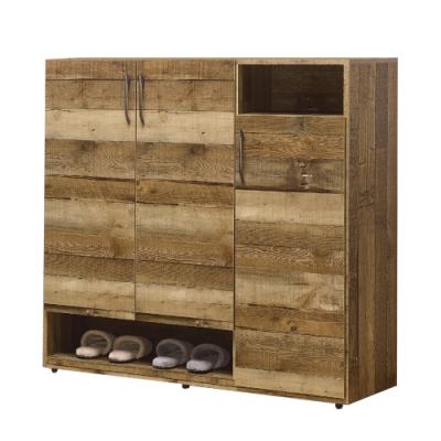 【AT HOME】美式輕工業4尺後切木紋三門收納鞋櫃(雀巢)