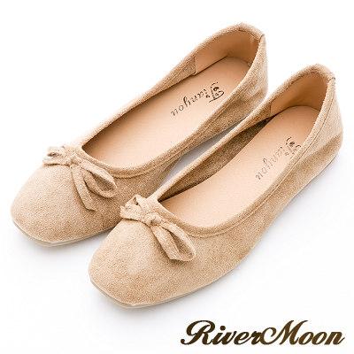 River&Moon女伶風采.細絨小方頭平底芭蕾娃娃鞋-卡其棕