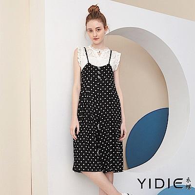 【YIDIE衣蝶】細肩白圓點立體剪裁連身褲裙