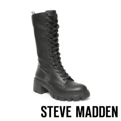 STEVE MADDEN-HUMOR 英倫個性綁帶中跟長靴-黑色
