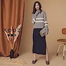 東京著衣-KODZ 兩件式橫條紋針織上衣側開叉長洋裝-S.M.L(共三色)