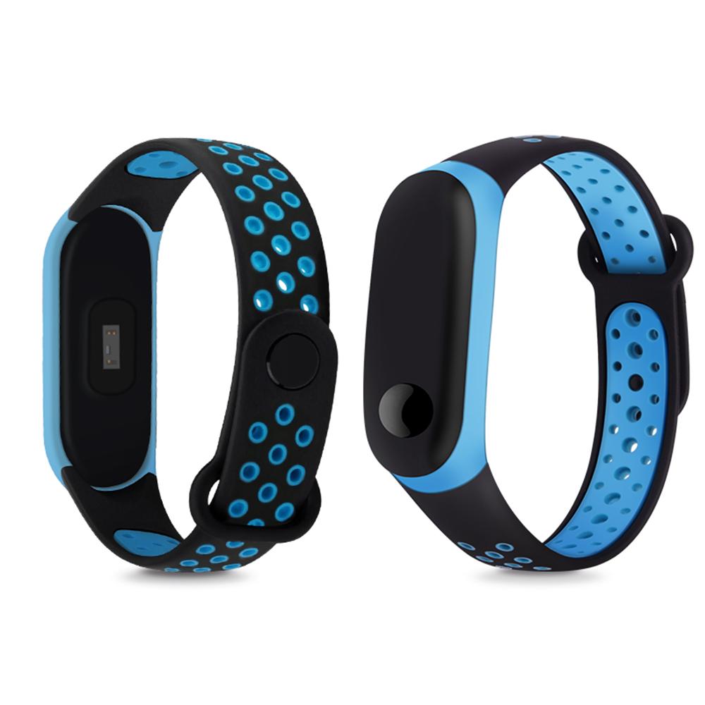 小米手環3/4 撞色網洞雙色腕帶 替換帶 液態硅膠 錶帶 運動智能錶帶 防水防丟 product image 1