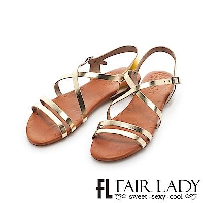 Fair Lady PORRONET 皮革交叉繞帶平底涼鞋 金