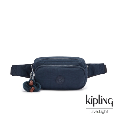 Kipling 沉穩素面藍雙層隨身腰包-HOPE