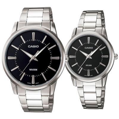 CASIO 簡約時刻不鏽鋼對錶-黑面(MTP-1303D-1A+LTP-1303D-1A)