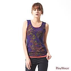 KeyWear奇威名品    經典百搭假兩件潑墨無袖背心-紫藍色