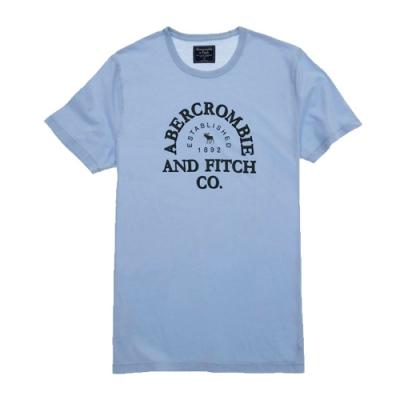 A&F 麋鹿 男款 LOGO文字印刷短T(藍色L)