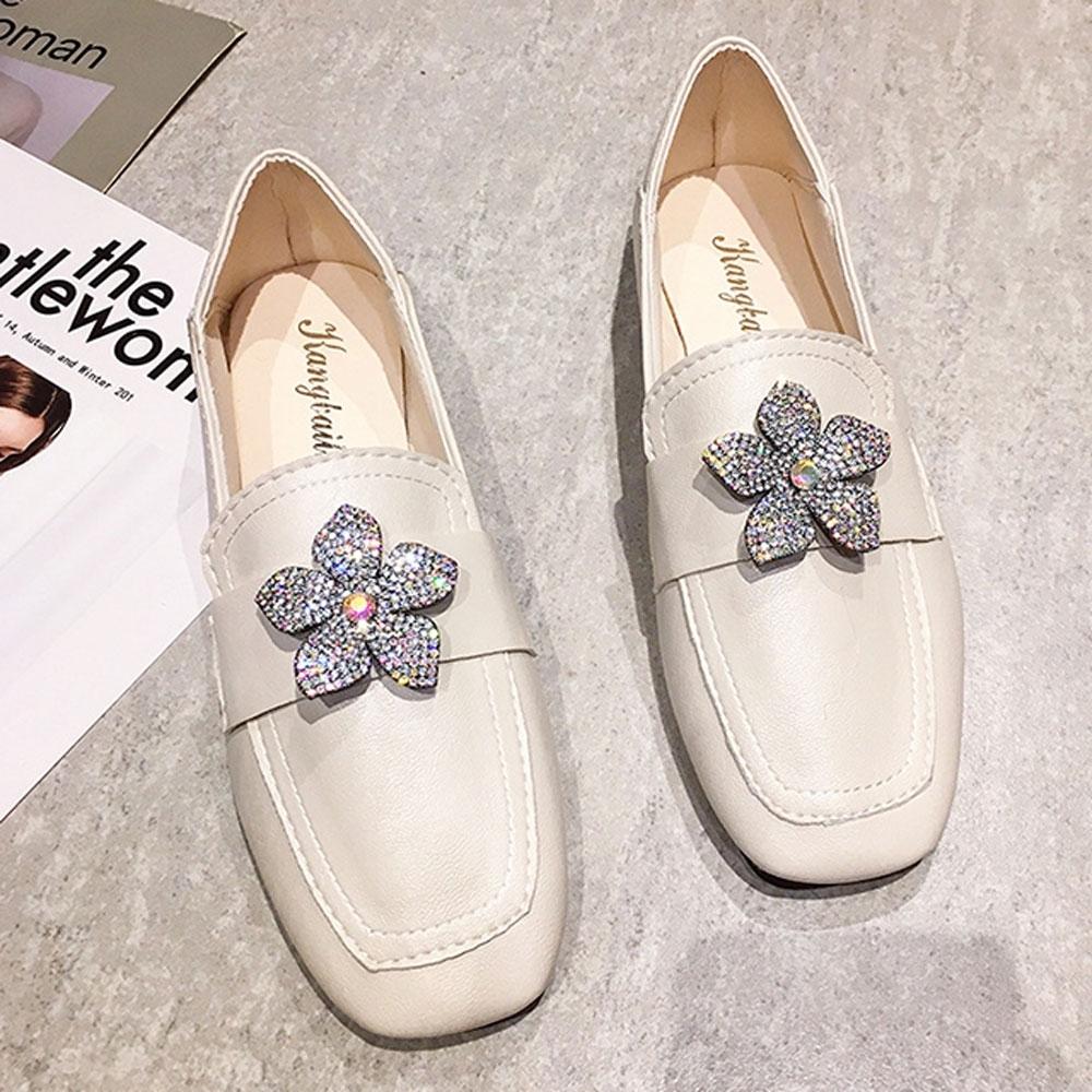 KEITH-WILL時尚鞋館 賣瘋了甜美水讚花朵樂福鞋-米