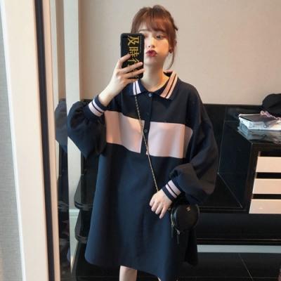 中大尺碼粉紅配色POLO衫領燈籠束口袖藍色短洋裝L~4L-Ballet Dolly