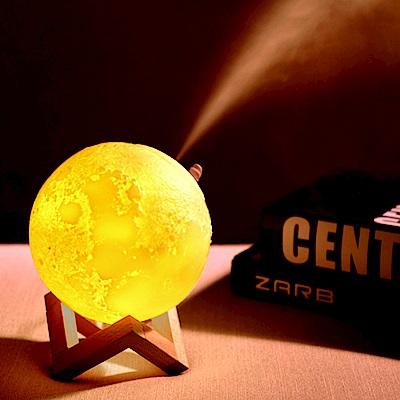3D打印月球燈水氣噴霧加濕器/香氛機 (送木質支架)