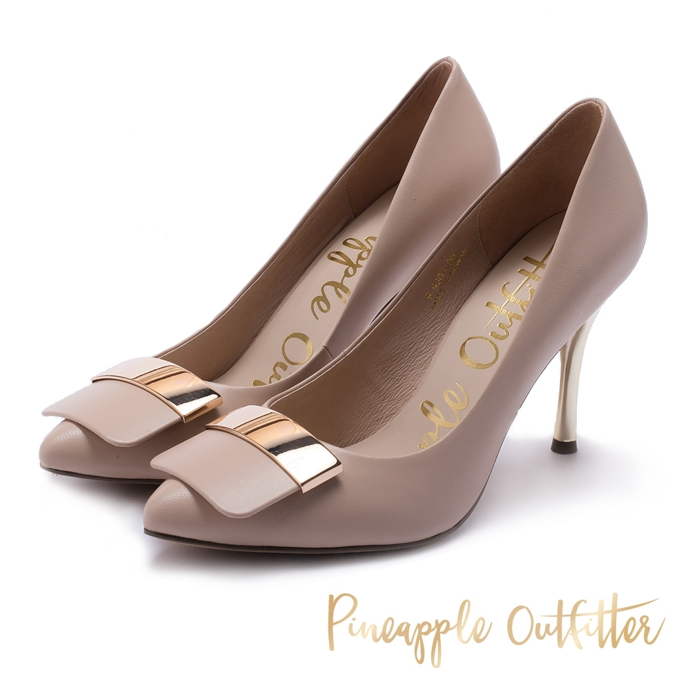 Pineapple Outfitter 低調簡約真皮金屬飾扣高跟鞋-粉藕色