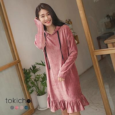 東京著衣 青春少女連帽絨布荷葉裙襬洋裝-S.M(共四色)