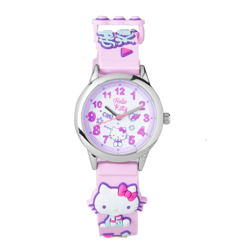HELLO KITTY凱蒂貓 繽紛霓虹兒童手錶-粉紅/30mm