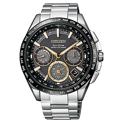 CITIZEN 星辰 GPS自動衛星對時定位鈦金時尚腕錶—香檳黃CC9015-54F