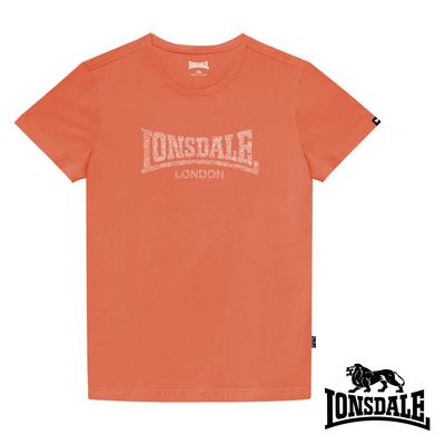 【LONSDALE 英國小獅】極簡植絨LOGO短袖T恤-橘色LT003