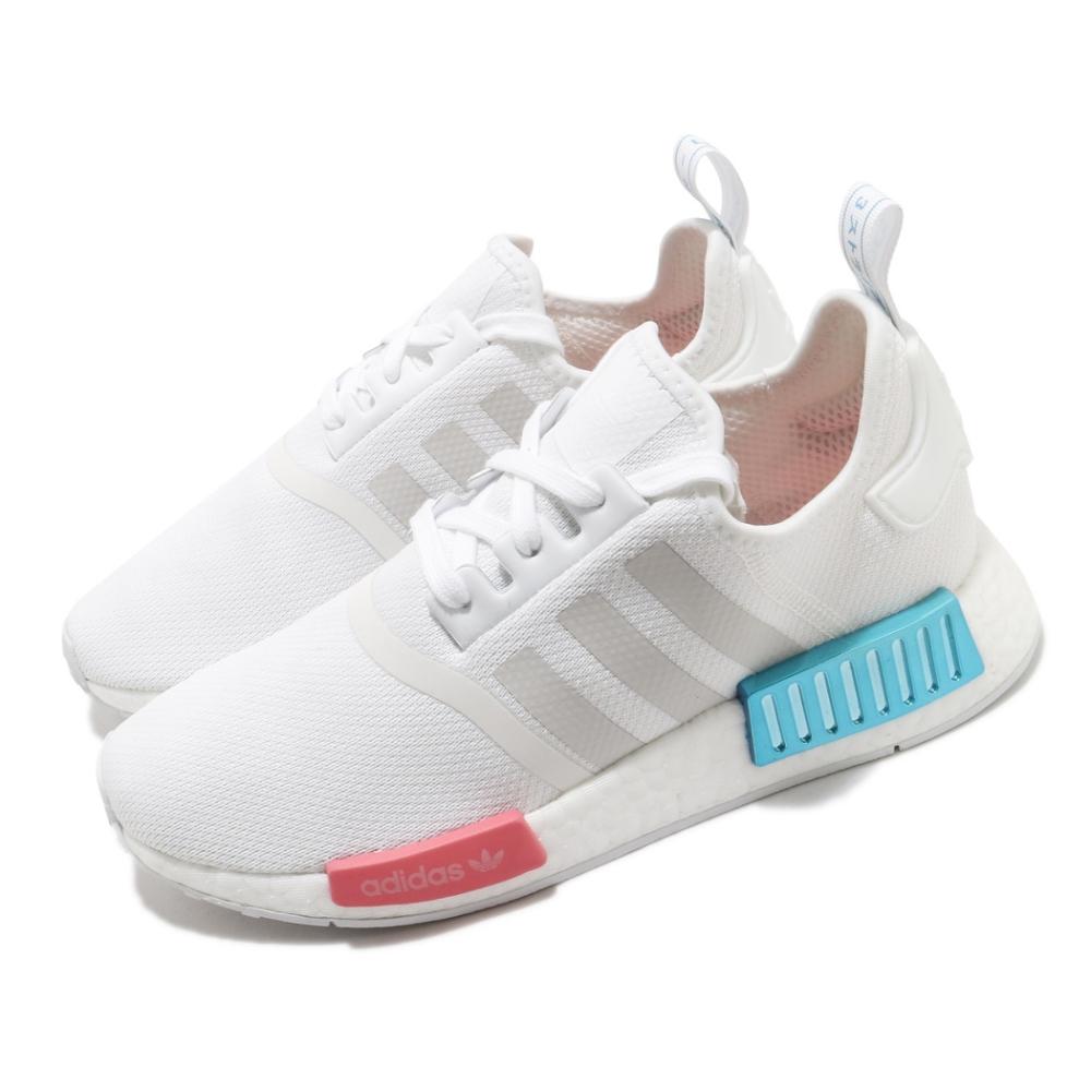 adidas 休閒鞋 NMD R1 襪套式 女鞋 愛迪達 三葉草 緩震 球鞋穿搭 白 灰 FX7074