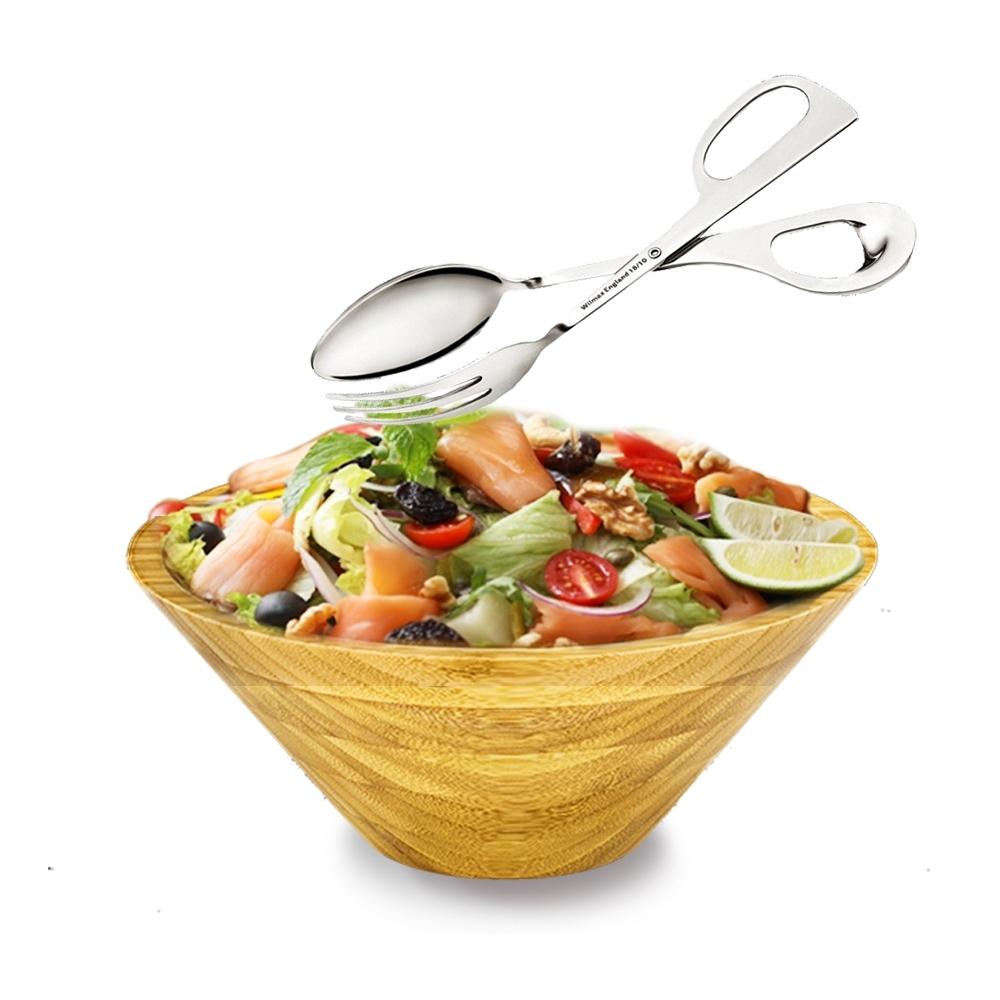 英國 WILMAX 日式簡約竹製沙拉碗2800ML附不鏽鋼沙拉夾