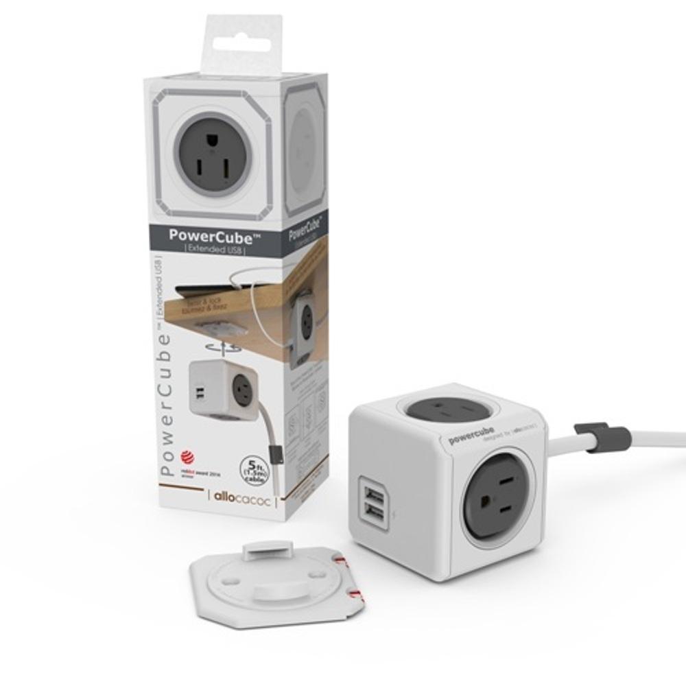 【PowerCube】魔術方塊延長線(灰色) 灰→雙USB、4面插座、3孔、1.5米