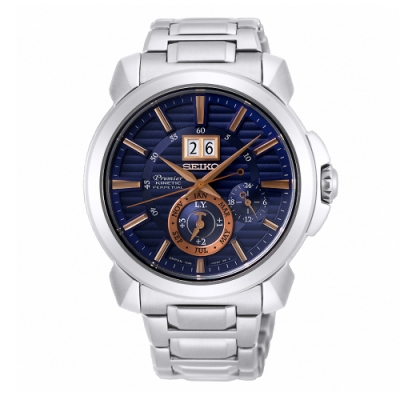 SEIKO 精工Premier人動電能萬年曆手錶SNP163J1-藍X銀/42mm
