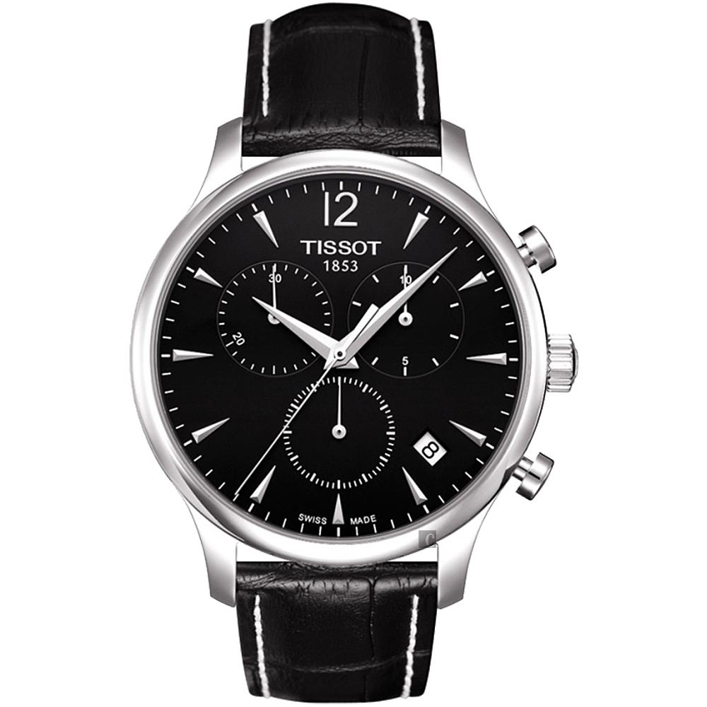 TISSOT 天梭 TRADITION 復刻計時腕錶-黑/42mm