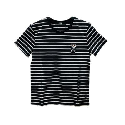 KARL LAGERFELD K/KOCKTAIL棉質條紋短袖T恤(黑)